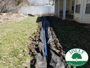 French Yard Standing Water Drainage System and Fresh Sod in Columbia MO Home by Landscaping Jolly Lawncare (3)